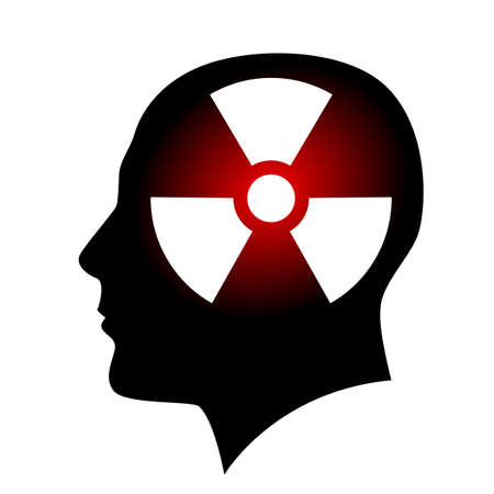 radiation sign: Human face with radiation sign. Illustration on white background
