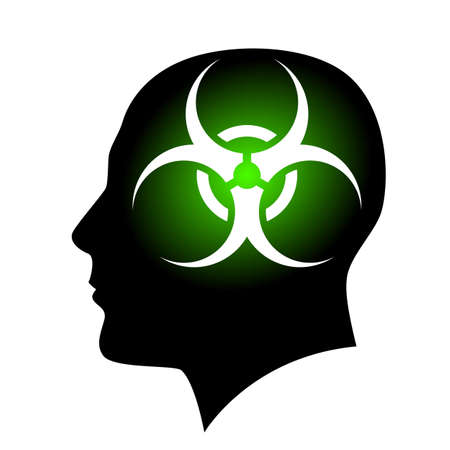 Human face with Biohazard sign. Illustration on white background for creative design Vector