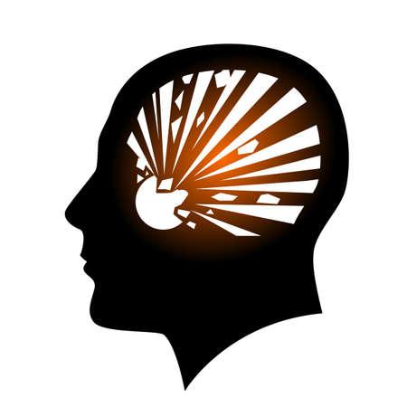 explosive hazard: Human face with Explosive Hazard Sign. Illustration on white background for creative design Illustration