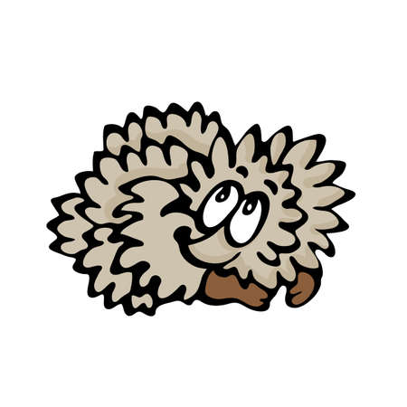 Funny cartoon hedgehog. Illustration on white background Stock Vector - 17989350