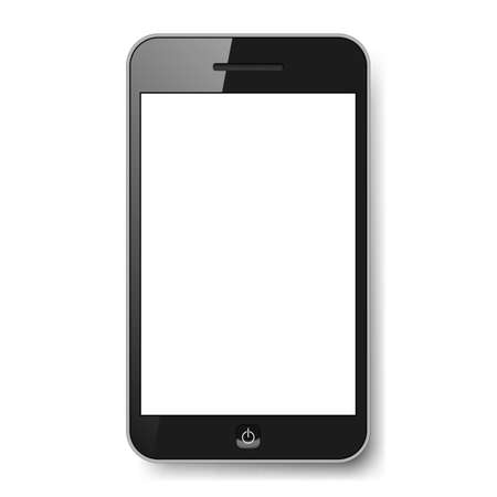 black phone and call: Realistic mobile phone with blank screen. Illustration on white background for design