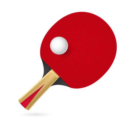 raqueta de tenis: Raqueta para jugar al tenis de mesa. Ilustración sobre fondo blanco