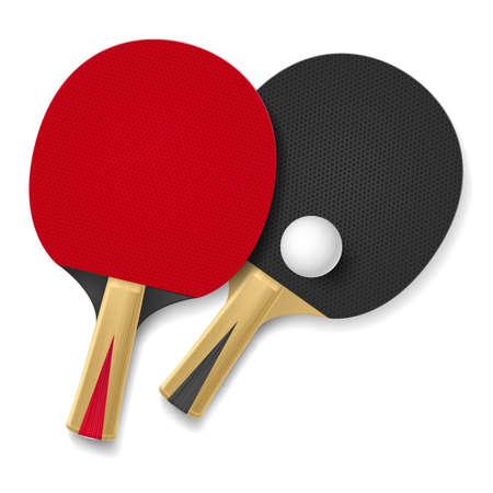 jugando tenis: Dos raquetas de tenis de mesa. Ilustración sobre fondo blanco Vectores