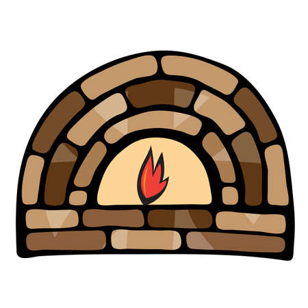 Abstract painted fireplace. Illustration on white background Vector
