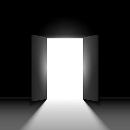 Double porte ouverte. Illustration sur fond noir