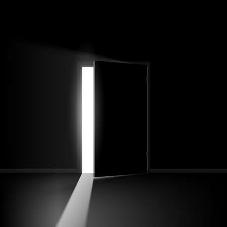 entrance door: Open door. Illustration on black background for creative design Illustration