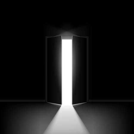 hope symbol of light: Double open door. Illustration on black background for creative design