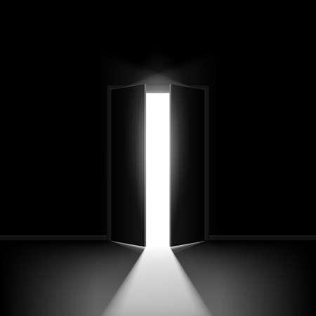 double: Double open door. Illustration on black background for creative design