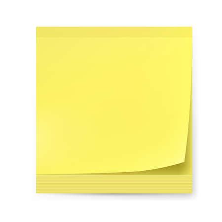 yellow note: Yellow sticker. Illustration on white background for creative design.