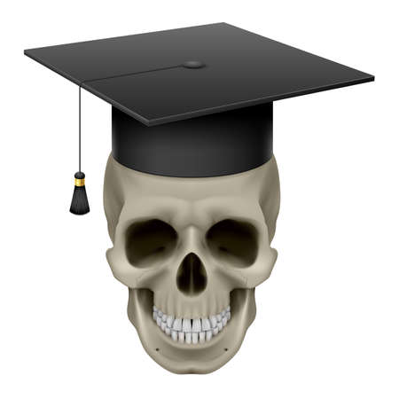 mortar board: Skull with Cap Graduate. Illustration on white background Illustration