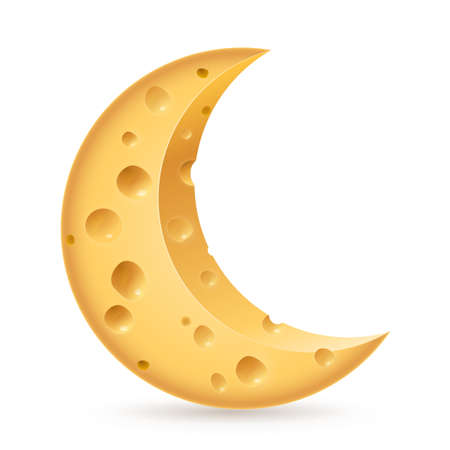 Abstract cheese lunation. Illustration on white background Vector