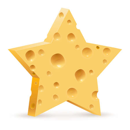 parmesan: Abstract star in form cheese. Illustration on white background
