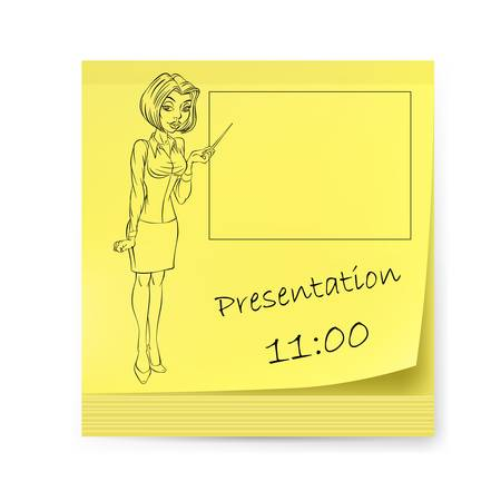 Yellow sticker with business woman and presentations Vector
