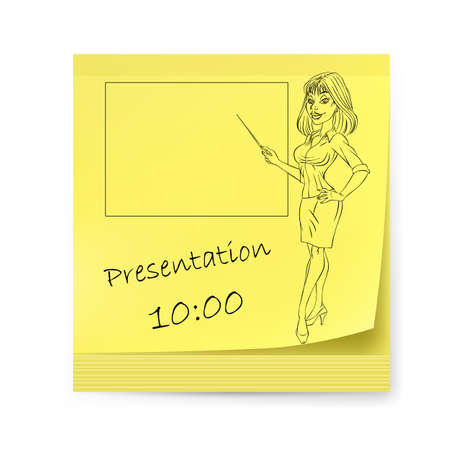 Yellow sticker with business woman and organizing presentations. Illustration on white Vector