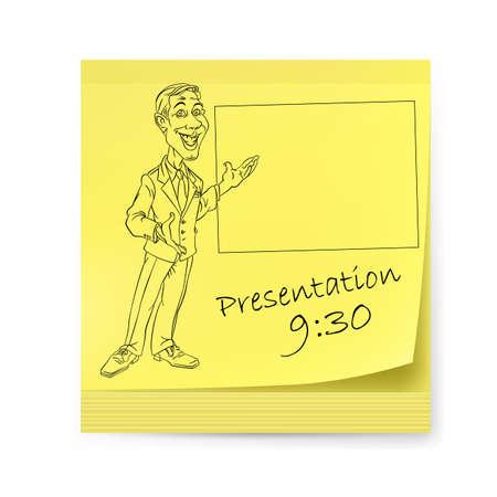 folio: Yellow sticker with man and organizing presentations. Illustration on white