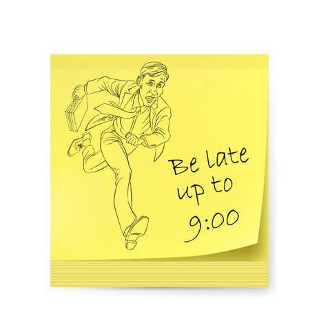 llegar tarde: Etiqueta amarilla con el hombre. Ilustraci�n en blanco Vectores