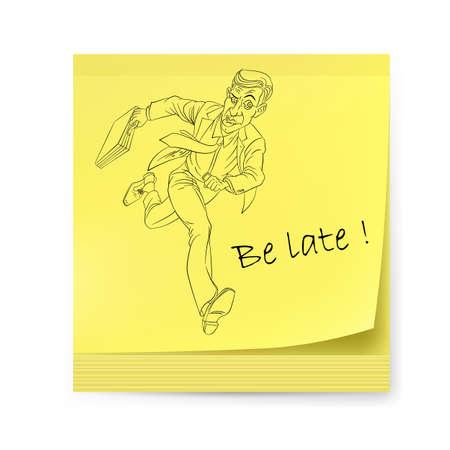llegar tarde: Etiqueta con el hombre. Ilustración sobre fondo blanco para el diseño creativo.