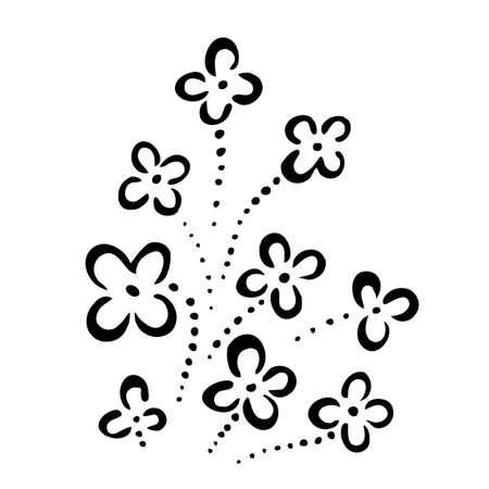 dessin noir blanc: R�sum� des fleurs. Illustration sur fond blanc pour la conception cr�ative Illustration