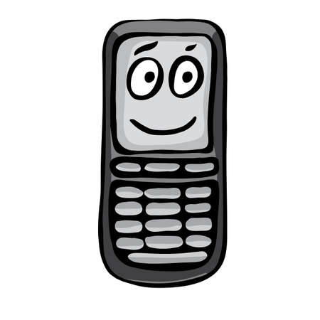 mouth screen: Funny mobile phone. Illustration on white background for creative design Illustration