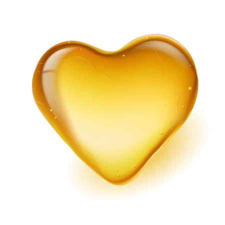 ámbar: �mbar realista en forma de coraz�n. Ilustraci�n sobre fondo blanco Vectores