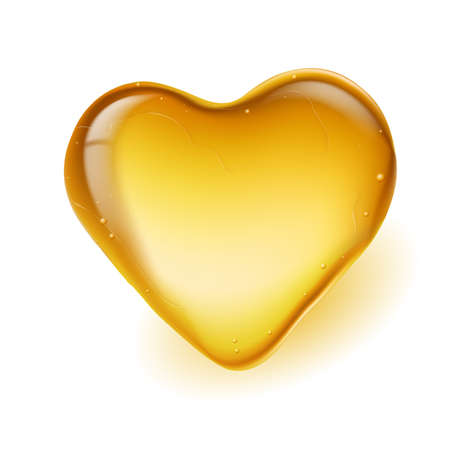Realistic amber in a heart shape. Illustration on white background Vector