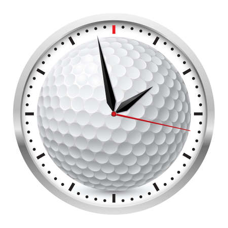 rush hour: Wall clock. Golf style. Illustration on white background