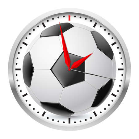 Wall clock. Football style. Illustration on white background Vector