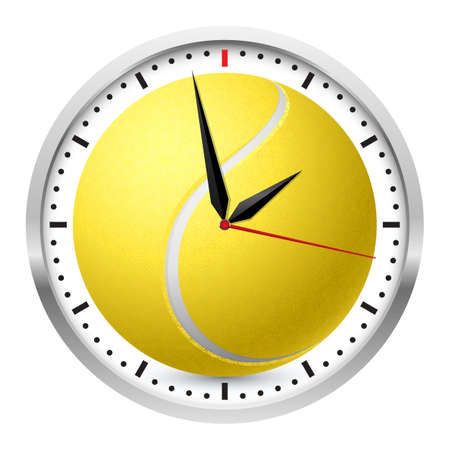 Wall clock. Tennis style. Illustration on white background Vector