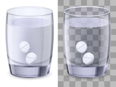 dissolving: Glass of water and pills. Illustration on white