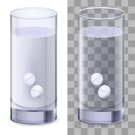 Real Glass and pills. Illustration on white for design Vector