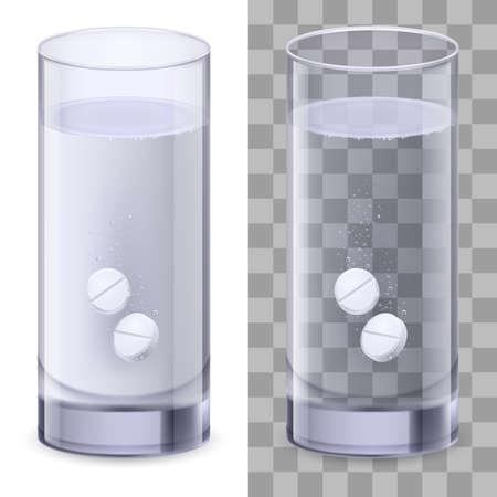 dissolving: Real Glass and pills. Illustration on white for design Illustration