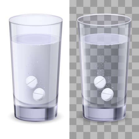 Glass and pills. Illustration on white for design Vector