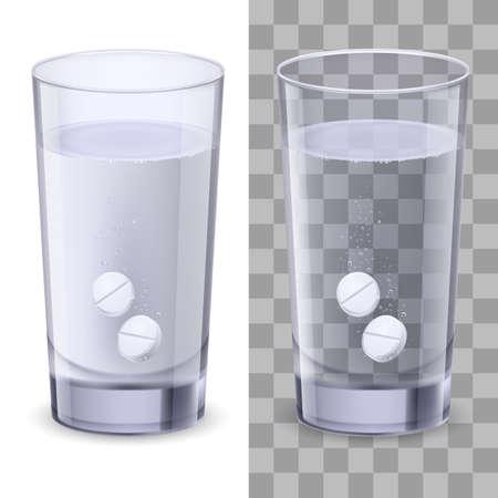 dissolving: Glass and pills. Illustration on white for design Illustration