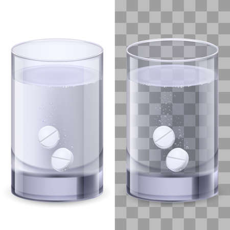 effervescent: Glass of water and pills. Illustration on white for design