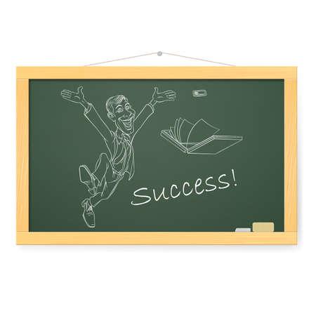 folio: Blackboard with man, and success. Illustration on white