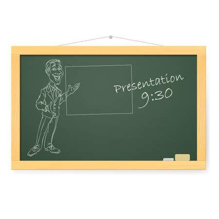 folio: Blackboard with man and organizing presentations. Illustration on white
