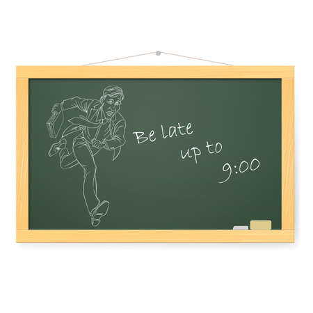 folio: Blackboard with Businessman Running To Work With Briefcase. Illustration on white background.