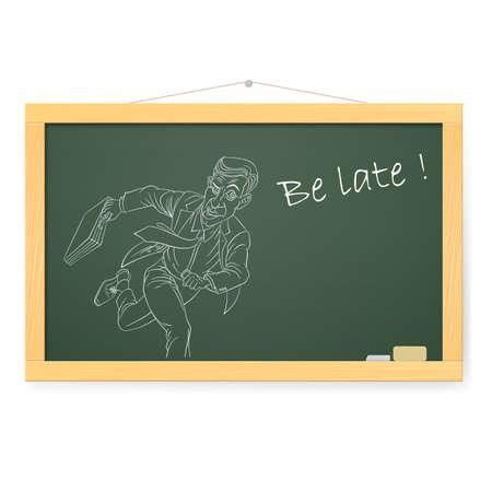 llegar tarde: Pizarra con el hombre de negocios corriente. Ilustraci�n en blanco Vectores