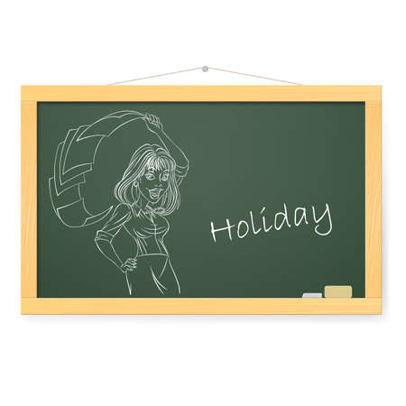 Blackboard with business woman and Holiday.  Illustration on white Vector