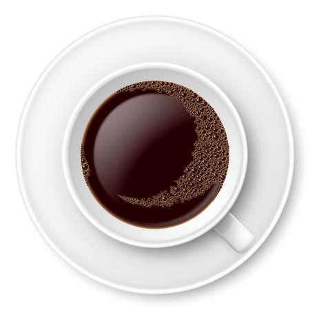 tasse caf�: La tasse blanche de caf� avec de la mousse et une soucoupe. Illustration sur fond blanc