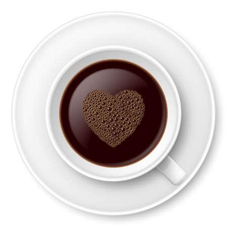 거품과 접시와 커피의 낯 짝. 흰색에 그림 일러스트