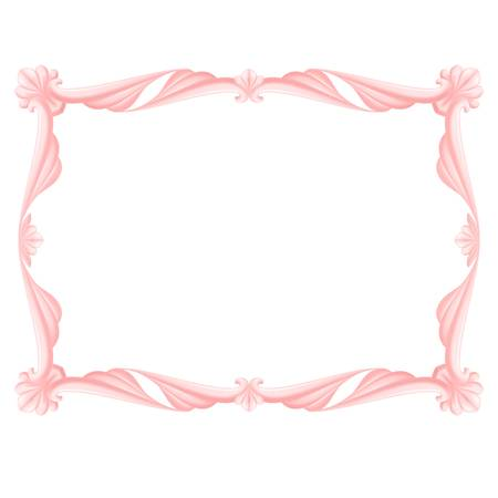 Pink beautiful frame. Illustration on white background for design. Vector