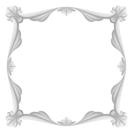 Gray beautiful frame. Illustration on white background for design. Vector