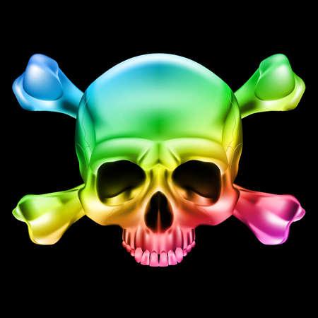Cráneo y huesos multicolor. Ilustración sobre fondo negro para el diseño