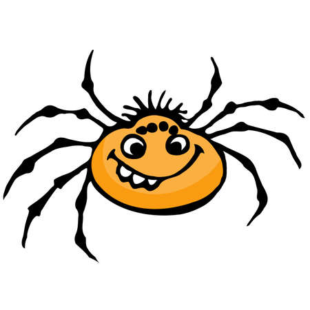 Cartoon spider. Illustration on white background for design Vector