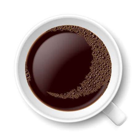Mug of coffee. Top view illustration on white background Vector