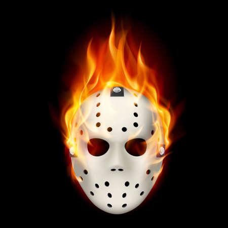 brandweer cartoon: Brandende hockey masker. Illustratie op zwarte achtergrond voor design.