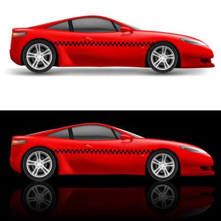 Red sports car taxi. Illustration on white and black background Vector