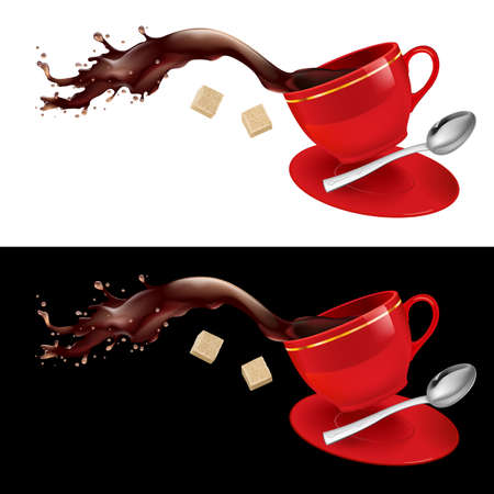 sugar spoon: Coffee in red Cup. Illustration on white and black background