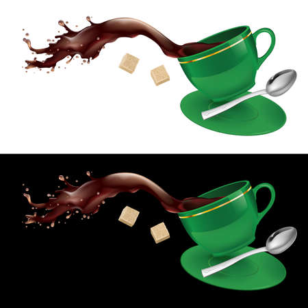 sugar cube: Coffee in green cup. Illustration on white and black background